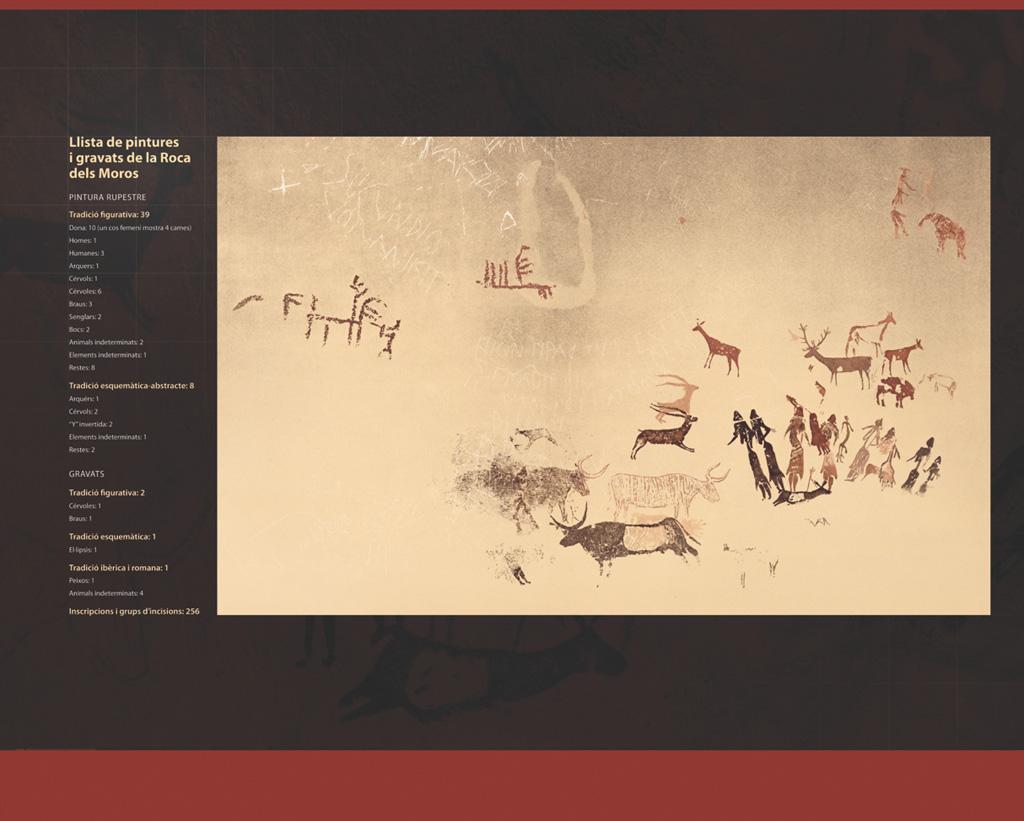 Plafó amb una reconstrucció de les pintures rupestres de la roca dels Moros del Cogul